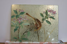 Verre Eglomise Bird and Flower panel